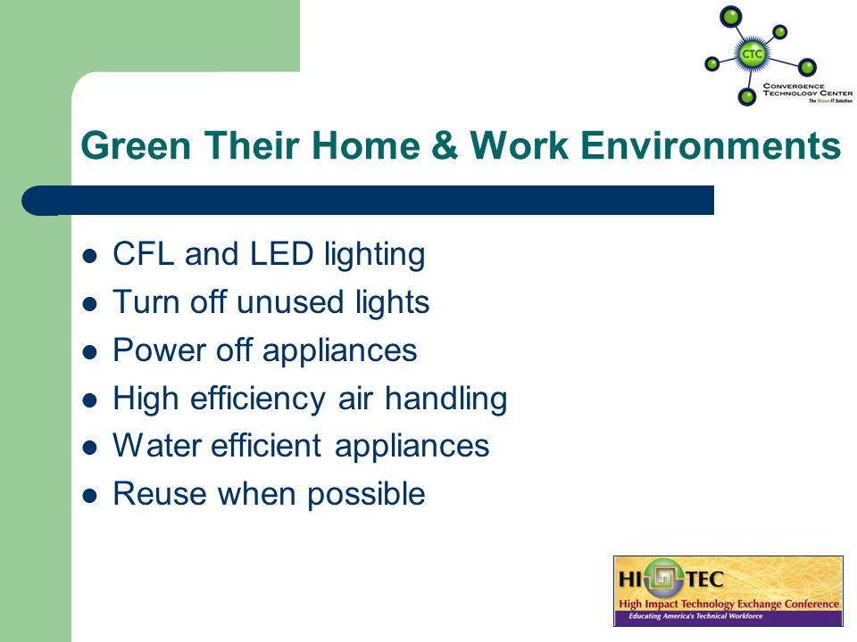 Green Their Commuting Telecommute Think outside the gas tank – Walk – Bike – Car pool – Alternative fuel cars