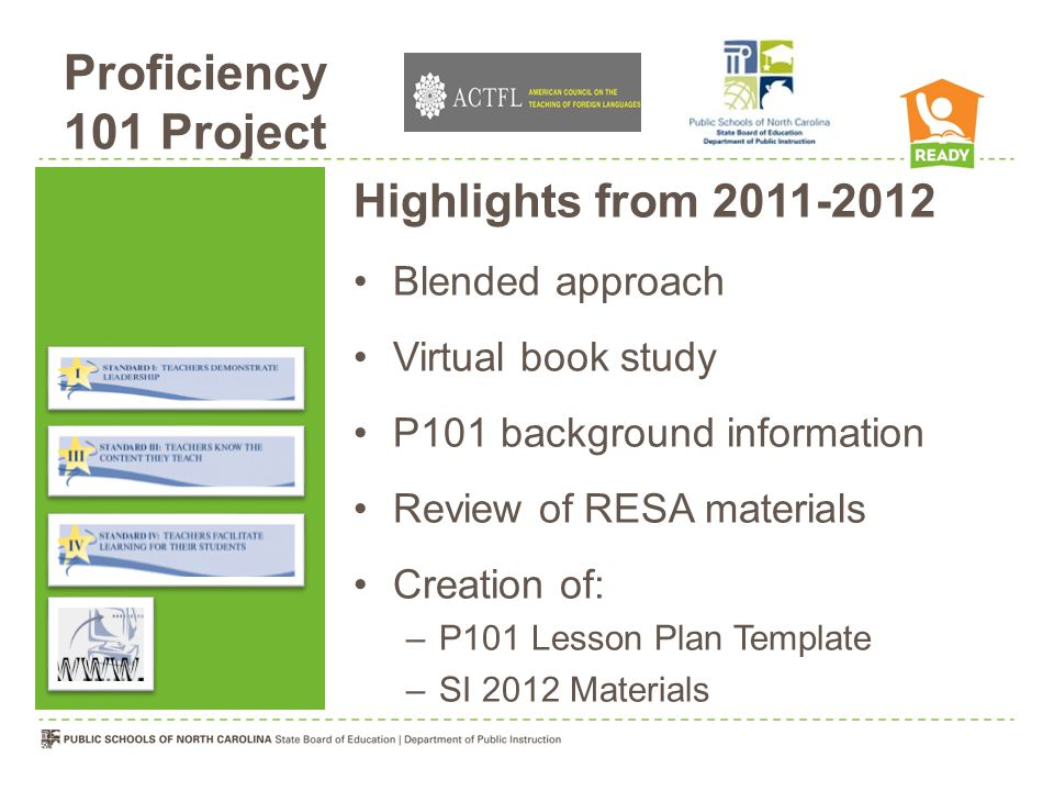 Proficiency 101 Project Highlights from 2011-2012 Blended approach Virtual book study P101 background information Review of RESA materials Creation of: –P101 Lesson Plan Template –SI 2012 Materials