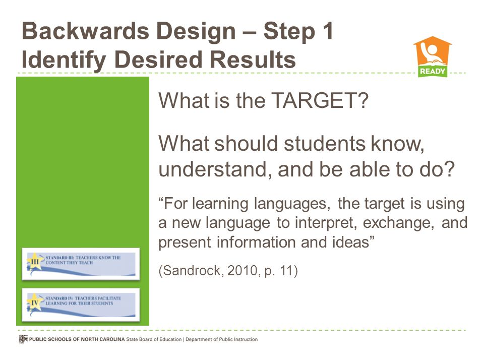 Backwards Design – Step 1 Identify Desired Results What is the TARGET.