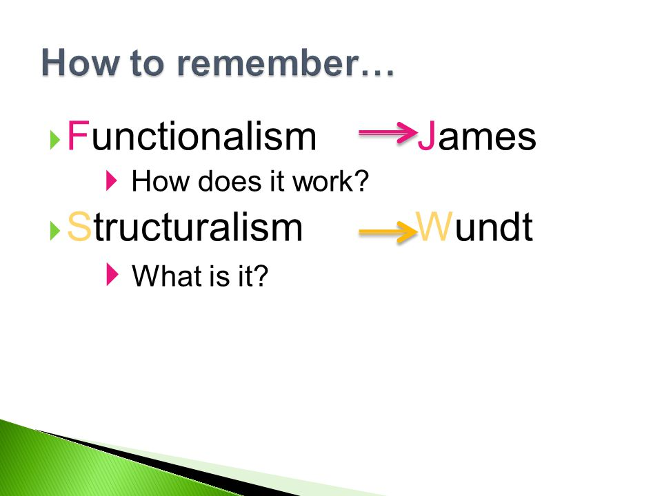  Functionalism James  How does it work?  Structuralism Wundt  What is it? How to remember…