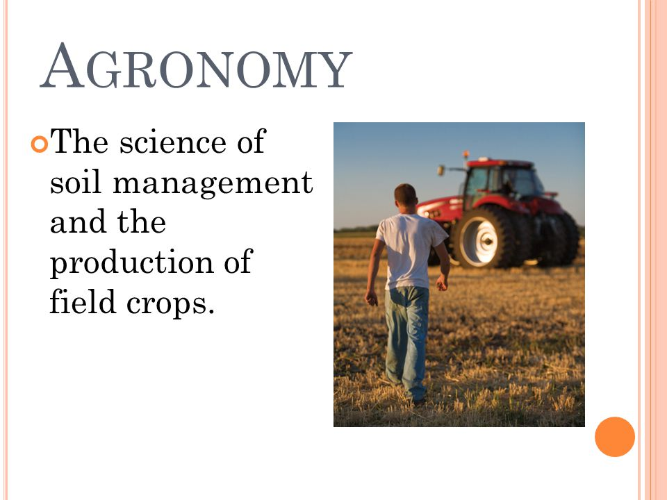 A GRONOMY The science of soil management and the production of field crops.