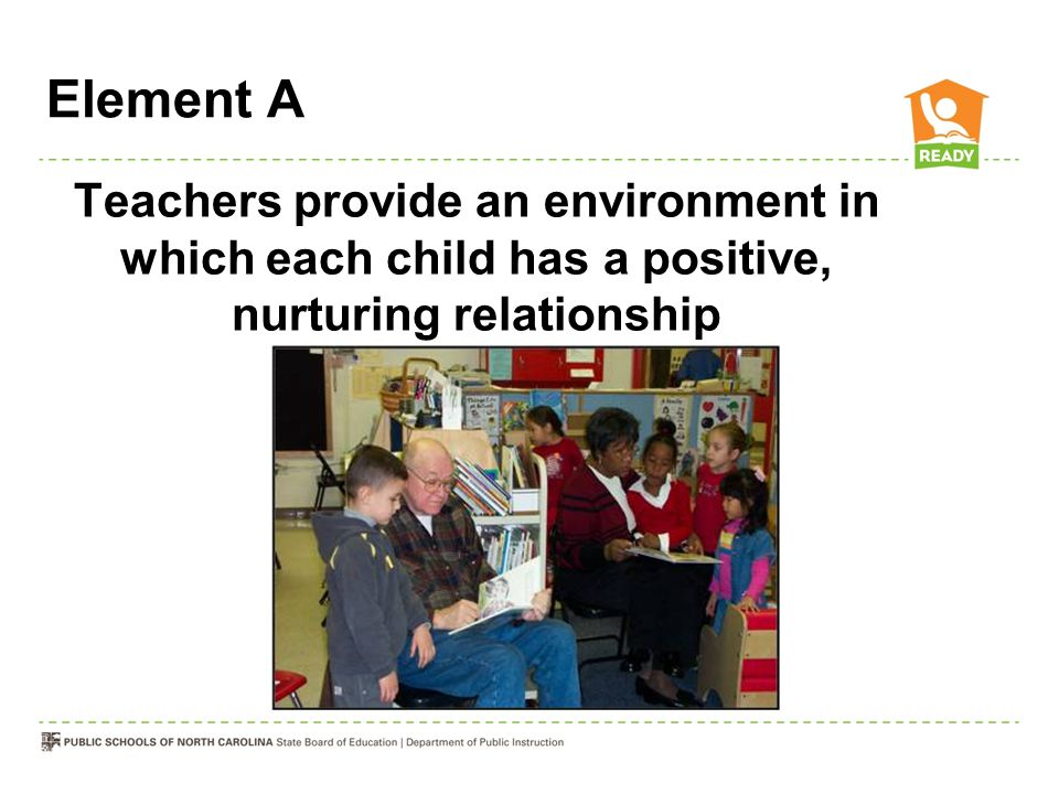 Element A Teachers provide an environment in which each child has a positive, nurturing relationship with caring adults.