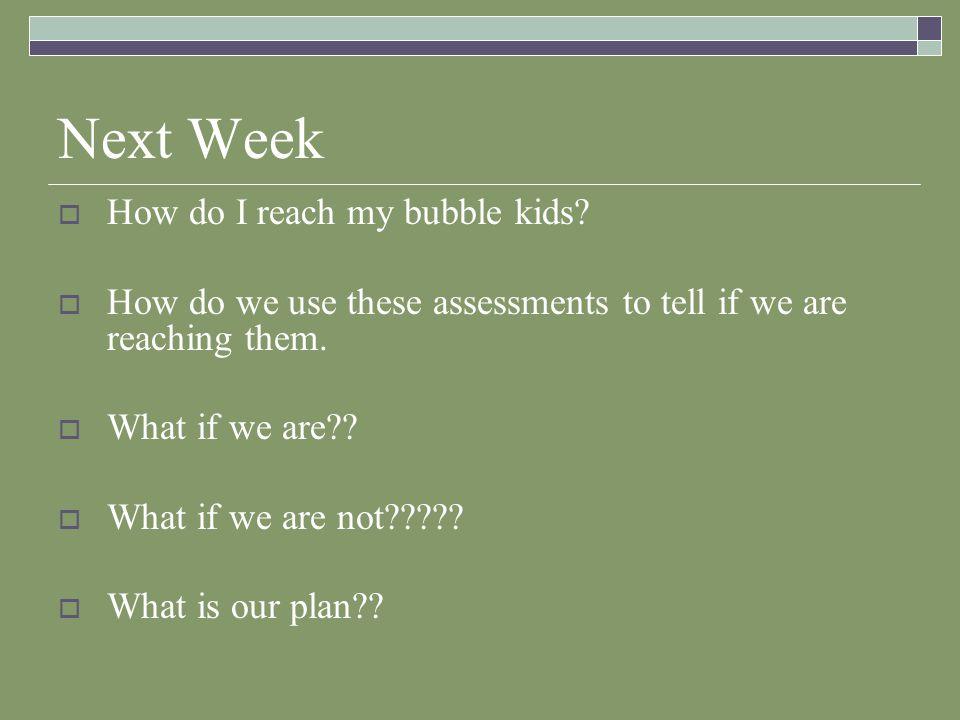 Next Week  How do I reach my bubble kids.