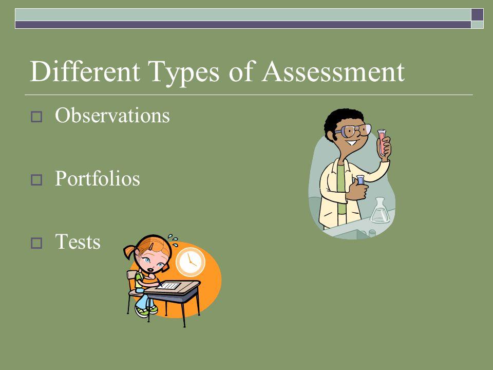 Different Types of Assessment  Observations  Portfolios  Tests