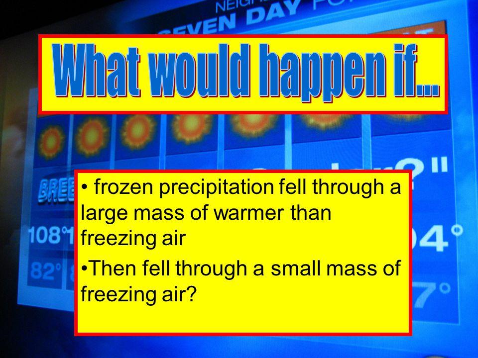 frozen precipitation fell through a small mass of warmer than freezing air Then fell through a larger mass of freezing air?