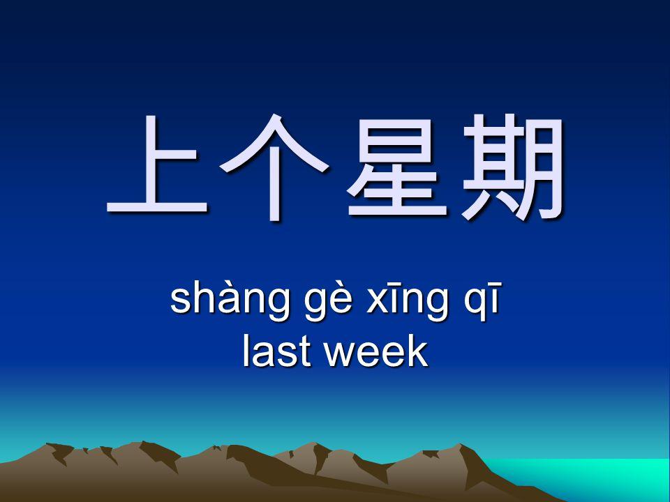 上个星期 shàng gè xīng qī last week
