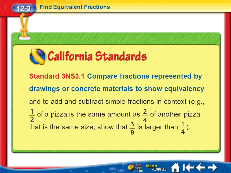 12-3 Find Equivalent Fractions Lesson 3 Standard 1 Standard 3NS3.1 Compare fractions represented by drawings or concrete materials to show equivalency