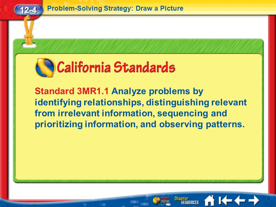 12-4 Problem-Solving Strategy: Draw a Picture Lesson 4 Standard 1 Standard 3MR1.1 Analyze problems by identifying relationships, distinguishing releva