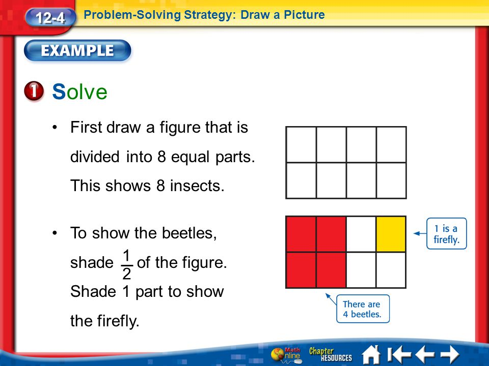 Lesson 4 Ex1 Solve 12-4 Problem-Solving Strategy: Draw a Picture First draw a figure that is divided into 8 equal parts. This shows 8 insects. To show