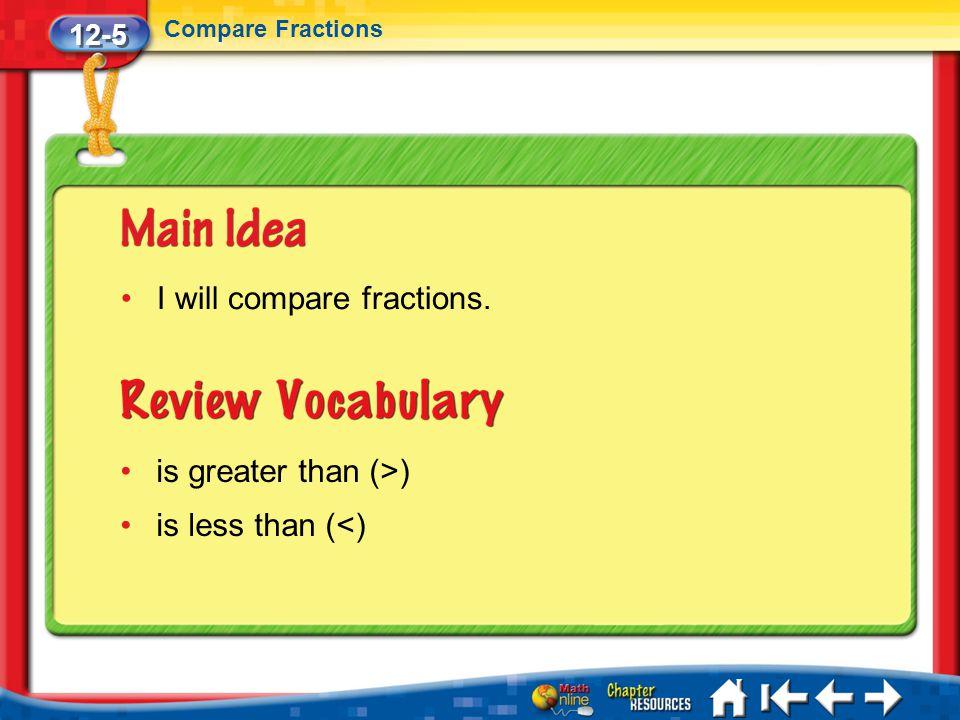 12-5 Compare Fractions Lesson 5 MI/Vocab I will compare fractions. is greater than (>) is less than (<)
