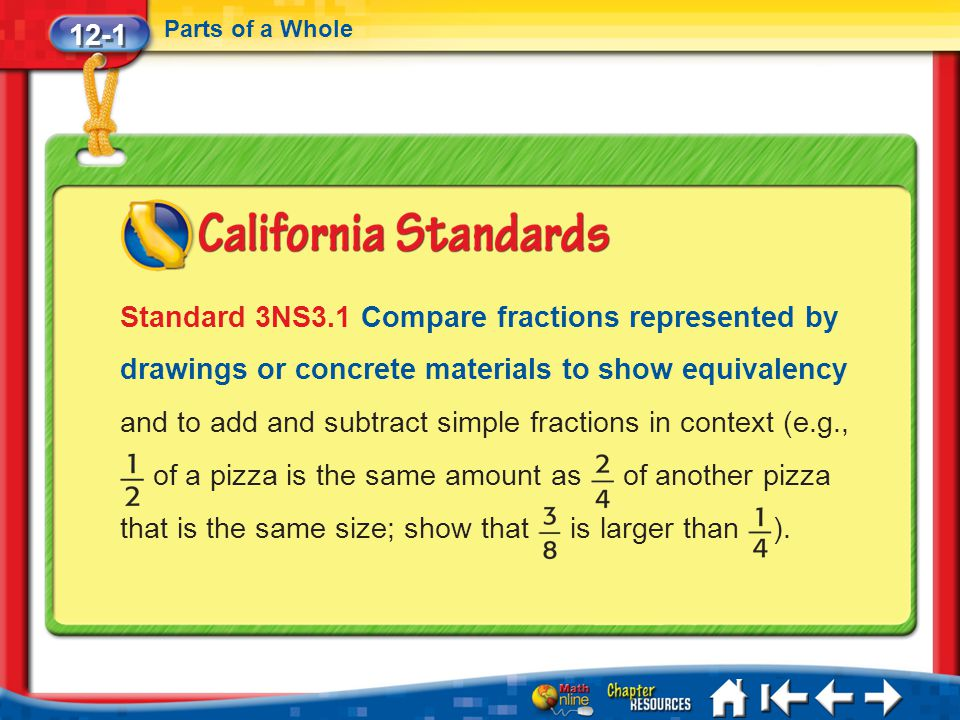 12-1 Parts of a Whole Lesson 1 Standard 1 Standard 3NS3.1 Compare fractions represented by drawings or concrete materials to show equivalency and to a
