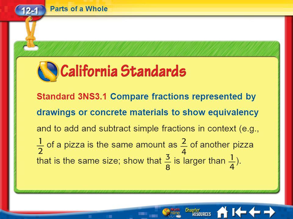 Lesson 3 Menu Five-Minute Check (over Lesson 12-2) Main Idea and Vocabulary California Standards Example 1: Find Equivalent Fractions 12-3 Find Equivalent Fractions Equivalent Fractions