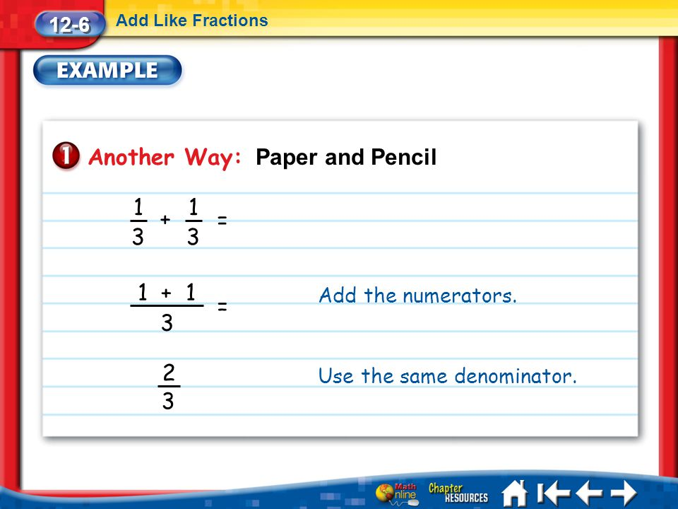 Lesson 6 Ex1 12-6 Add Like Fractions Another Way: Paper and Pencil 1 3 + 1 3 = 1 + 1 3 = 2 3 Add the numerators. Use the same denominator.