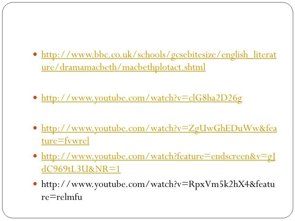 http://www.bbc.co.uk/schools/gcsebitesize/english_literat ure/dramamacbeth/macbethplotact.shtml http://www.bbc.co.uk/schools/gcsebitesize/english_lite