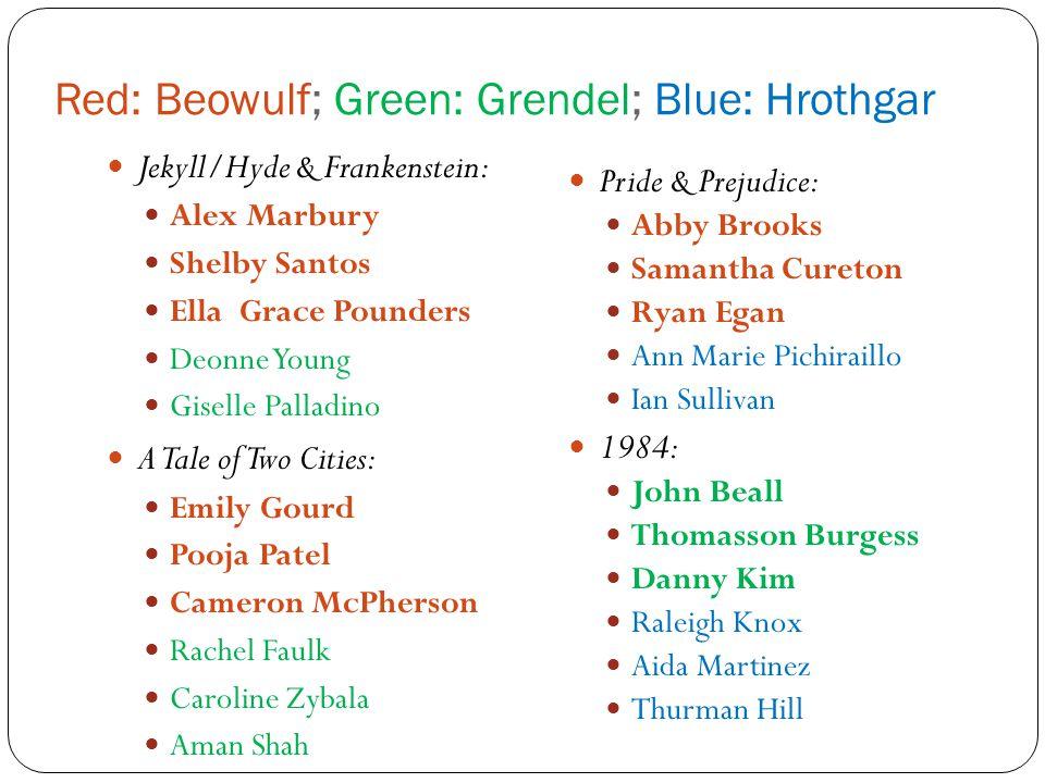 Red: Beowulf; Green: Grendel; Blue: Hrothgar Jekyll/Hyde & Frankenstein: Alex Marbury Shelby Santos Ella Grace Pounders Deonne Young Giselle Palladino