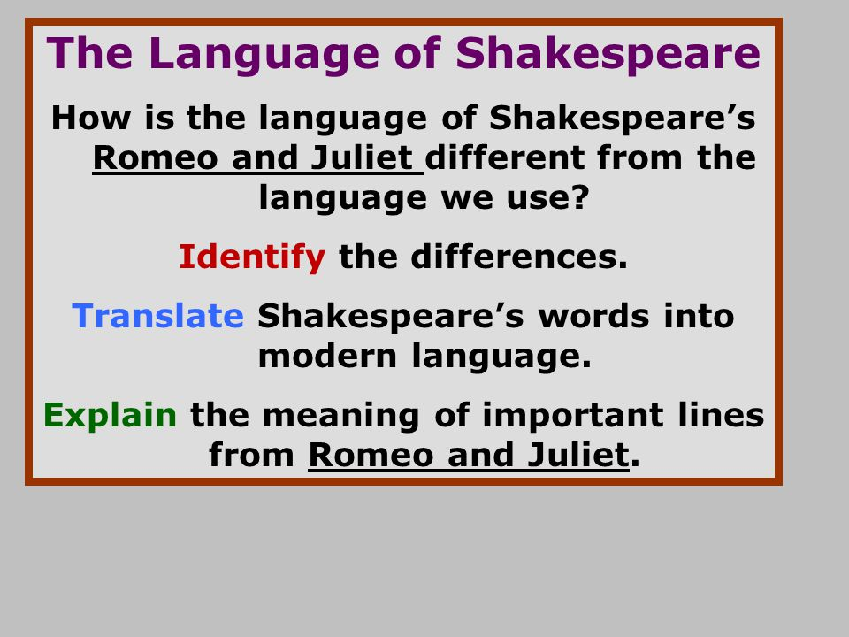 The Language of Shakespeare How is the language of Shakespeare's Romeo and Juliet different from the language we use? Identify the differences. Transl