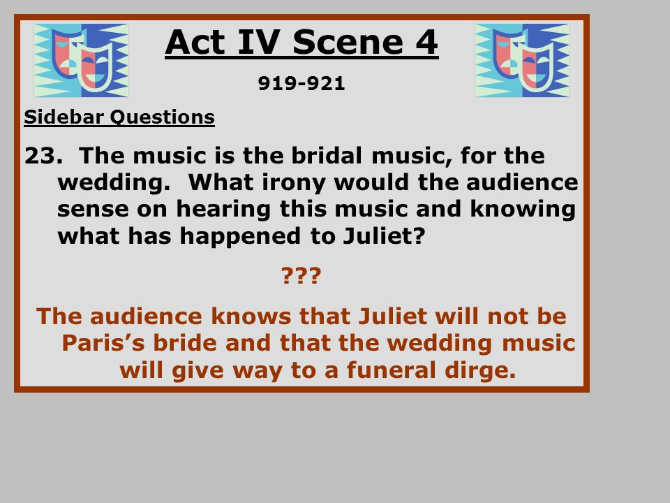 Act IV Scene 4 919-921 Sidebar Questions 23. The music is the bridal music, for the wedding. What irony would the audience sense on hearing this music