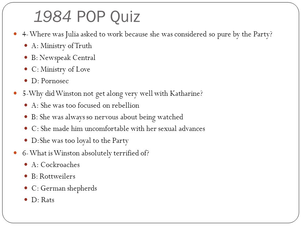 1984 POP Quiz 4- Where was Julia asked to work because she was considered so pure by the Party.