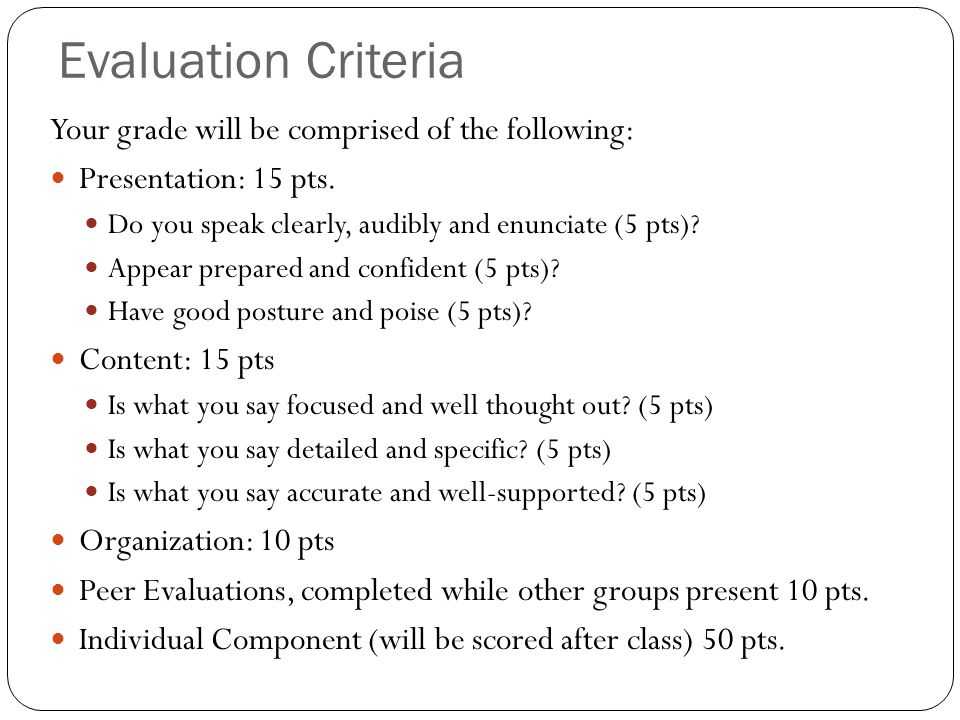 Evaluation Criteria Your grade will be comprised of the following: Presentation: 15 pts.