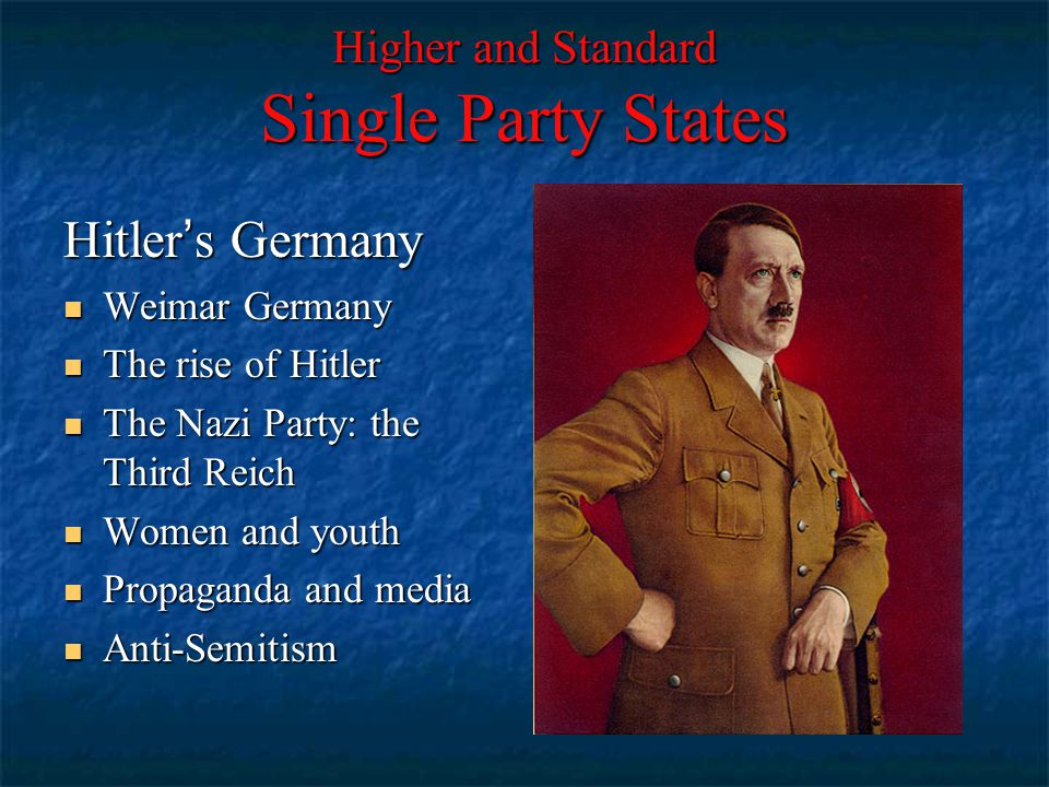Higher and Standard Single Party States Hitler's Germany Weimar Germany Weimar Germany The rise of Hitler The rise of Hitler The Nazi Party: the Third