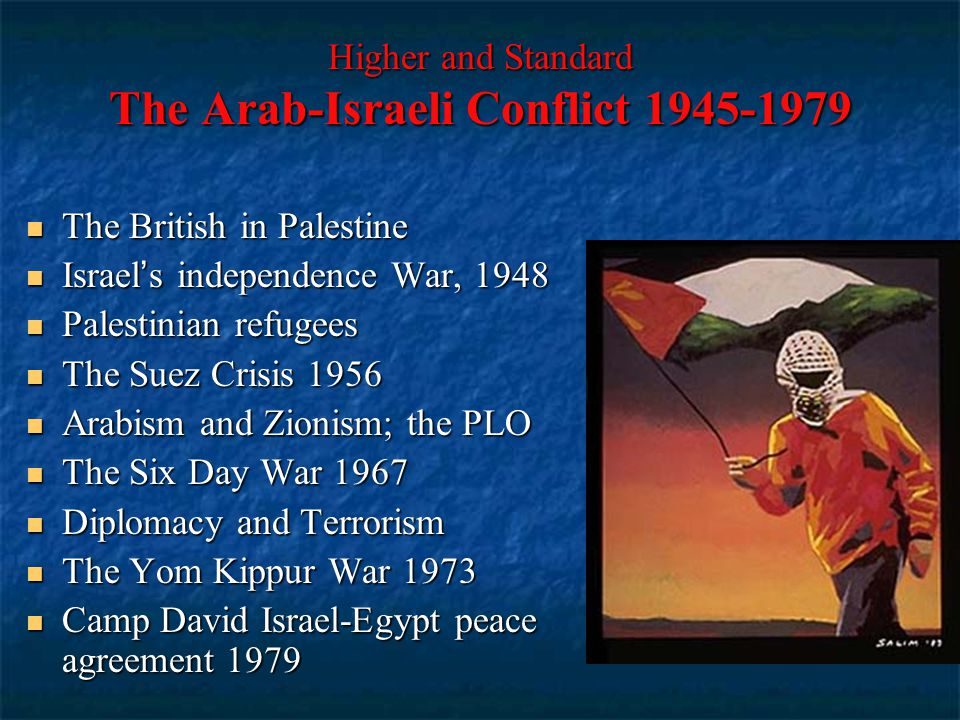 Higher and Standard The Arab-Israeli Conflict 1945-1979 The British in Palestine The British in Palestine Israel's independence War, 1948 Israel's ind
