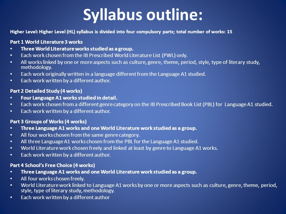 Syllabus outline: Higher Level: Higher Level (HL) syllabus is divided into four compulsory parts; total number of works: 15 Part 1 World Literature 3 works Three World Literature works studied as a group.