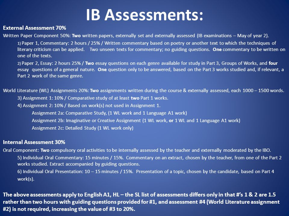 IB Assessments: External Assessment 70% Written Paper Component 50%: Two written papers, externally set and externally assessed (IB examinations – May of year 2).