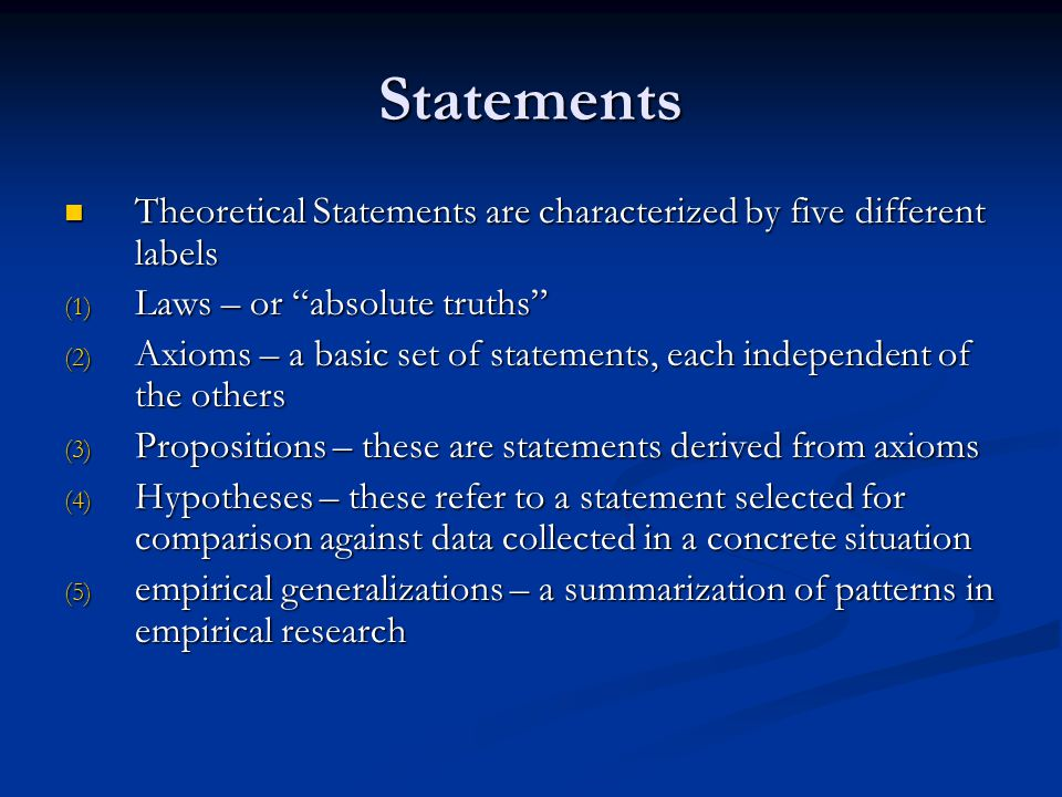 Forms of Theories There are three difference conceptions of how sets of statements should be organized to constitute a theory : There are three difference conceptions of how sets of statements should be organized to constitute a theory : 1.