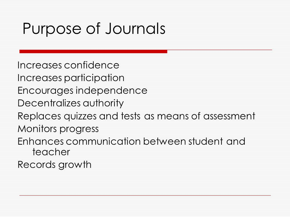 Purpose of Journals Increases confidence Increases participation Encourages independence Decentralizes authority Replaces quizzes and tests as means of assessment Monitors progress Enhances communication between student and teacher Records growth