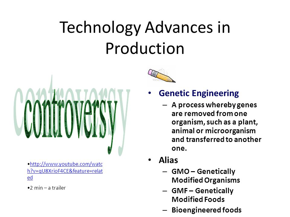 Technology Advances in Production Genetic Engineering – A process whereby genes are removed from one organism, such as a plant, animal or microorganism and transferred to another one.
