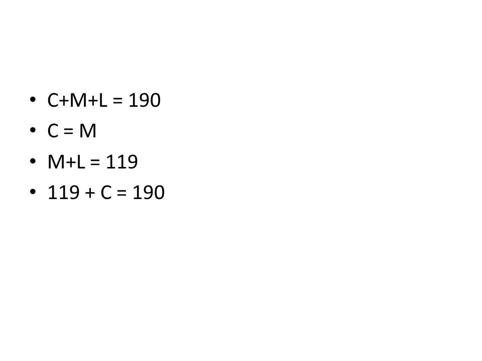 C+M+L = 190 C = M M+L = 119 119 + C = 190