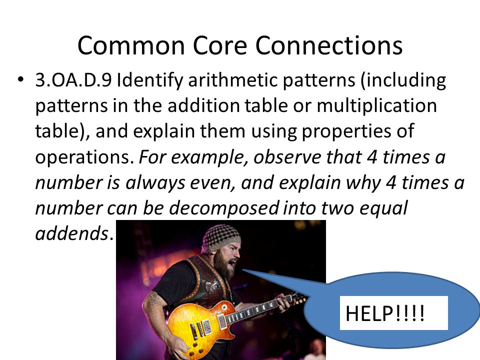 Common Core Connections 3.OA.D.9 Identify arithmetic patterns (including patterns in the addition table or multiplication table), and explain them using properties of operations.