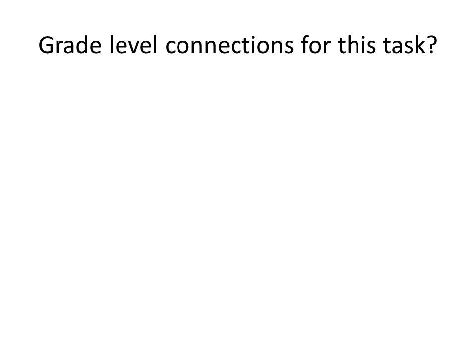 Grade level connections for this task?