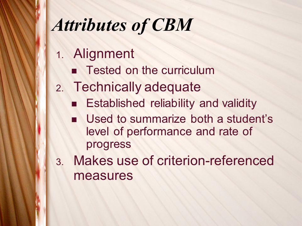 Different types of CBMs cont.