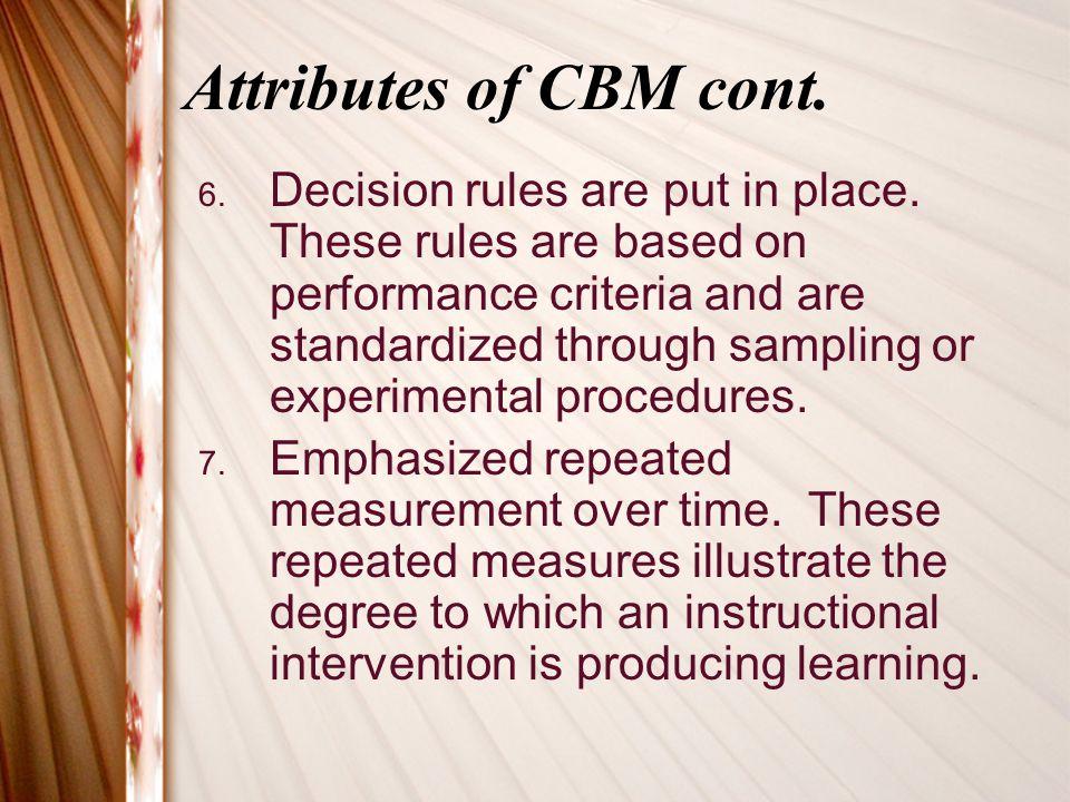Attributes of CBM cont.8. Efficient.