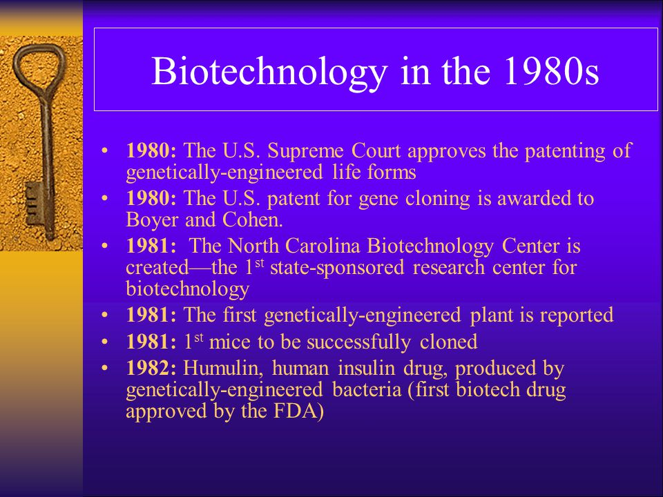 Biotechnology in the 1980s 1983: The first artificial chromosome is made 1983: The first genetic markers for specific inherited diseases are found 1984: The DNA fingerprinting technique is developed.