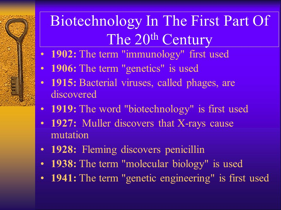 Biotechnology In The First Part Of The 20 th Century 1942: The electron microscope is used and characterizes viruses that infect bacteria, called bacteriaphages 1944: DNA is shown to be the building block of the gene 1949: Pauling proves that sickle cell anemia is a molecular disease caused by a mutation