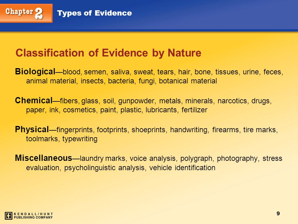 Types of Evidence 9 Classification of Evidence by Nature Biological —blood, semen, saliva, sweat, tears, hair, bone, tissues, urine, feces, animal mat