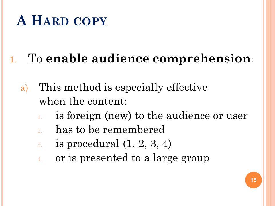 A H ARD COPY 1.