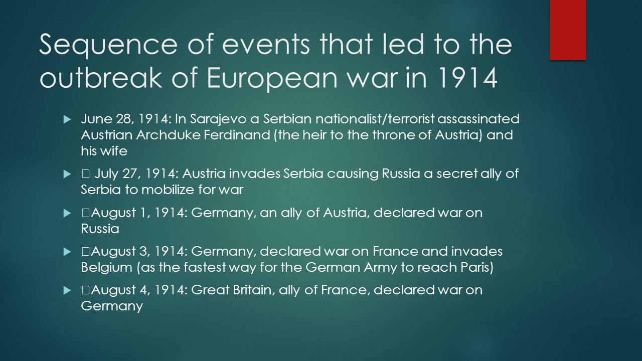 Sequence of events that led to the outbreak of European war in 1914  June 28, 1914: In Sarajevo a Serbian nationalist/terrorist assassinated Austrian