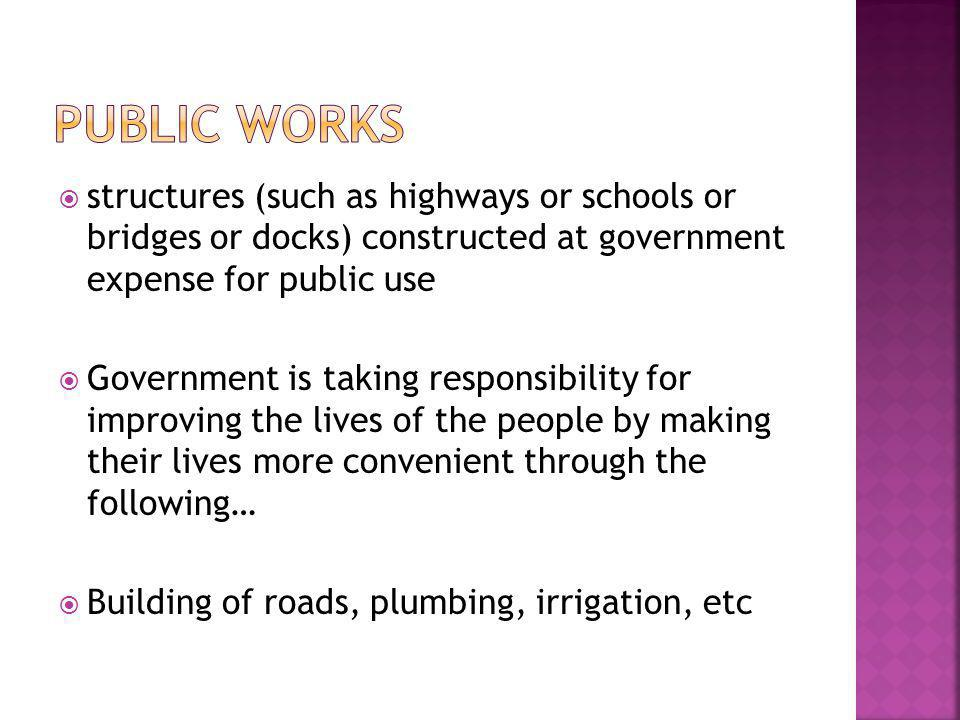  structures (such as highways or schools or bridges or docks) constructed at government expense for public use  Government is taking responsibility