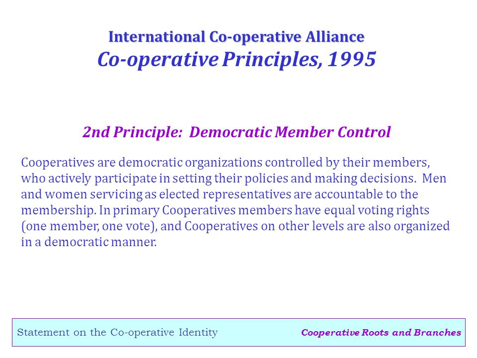 Cooperative Roots and Branches Statement on the Co-operative Identity 2nd Principle: Democratic Member Control International Co-operative Alliance Co-operative Principles, 1995 Cooperatives are democratic organizations controlled by their members, who actively participate in setting their policies and making decisions.