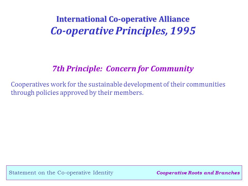 Cooperative Roots and Branches Statement on the Co-operative Identity 7th Principle: Concern for Community International Co-operative Alliance Co-operative Principles, 1995 Cooperatives work for the sustainable development of their communities through policies approved by their members.