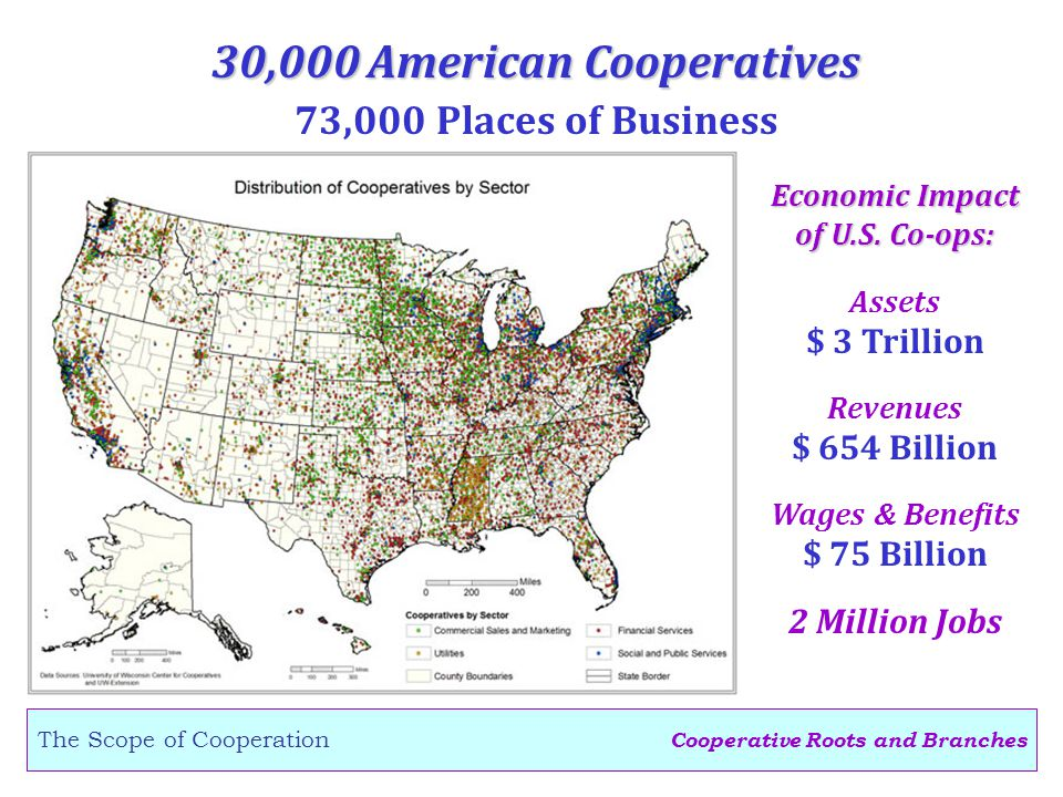 Cooperative Roots and Branches The Scope of Cooperation 30,000 American Cooperatives 73,000 Places of Business Assets $ 3 Trillion Revenues $ 654 Billion Economic Impact of U.S.