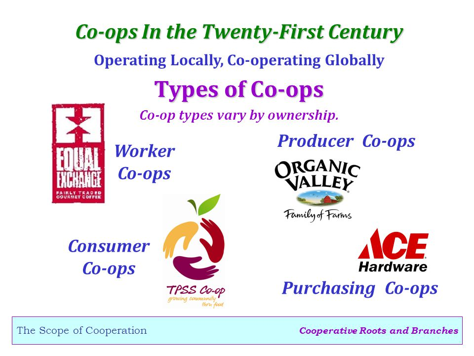 Cooperative Roots and Branches The Scope of Cooperation Co-ops In the Twenty-First Century Operating Locally, Co-operating Globally Types of Co-ops Worker Co-ops Purchasing Co-ops Co-op types vary by ownership.