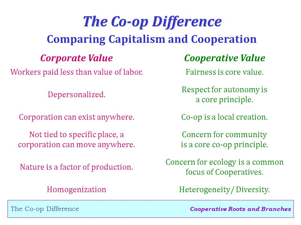 Cooperative Roots and Branches The Co-op Difference Corporate ValueCooperative Value Depersonalized.