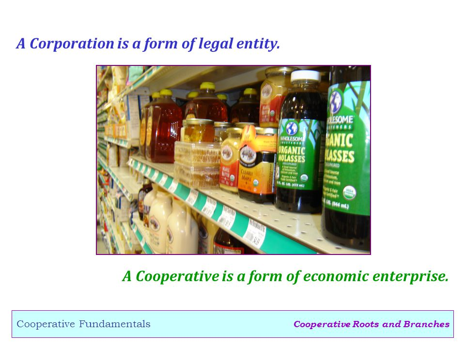 Cooperative Roots and Branches Cooperative Fundamentals A Corporation is a form of legal entity.