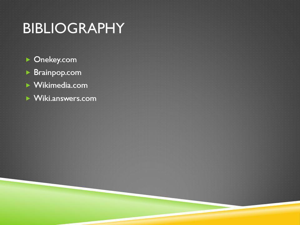 BIBLIOGRAPHY  Onekey.com  Brainpop.com  Wikimedia.com  Wiki.answers.com