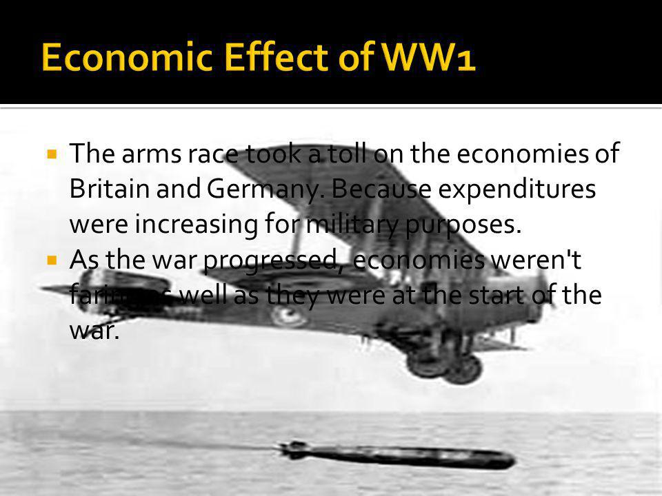  The arms race took a toll on the economies of Britain and Germany.