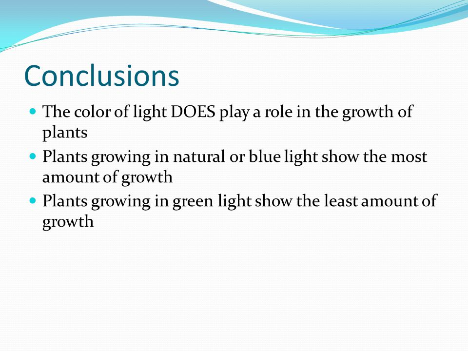Conclusions The color of light DOES play a role in the growth of plants Plants growing in natural or blue light show the most amount of growth Plants